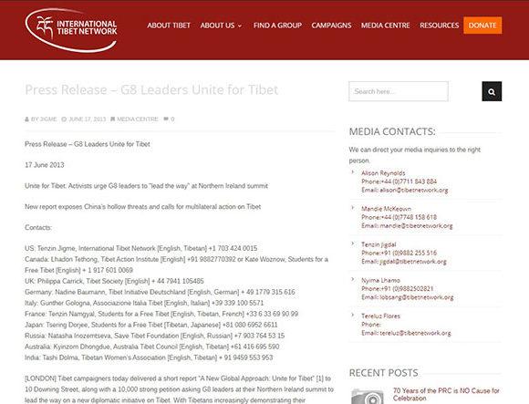 Press Release – G8 Leaders Unite for Tibet