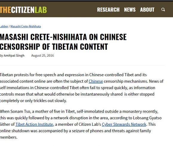 MASASHI CRETE-NISHIHATA ON CHINESE CENSORSHIP OF TIBETAN CONTENT