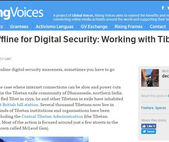 Getting Offline for Digital Security: Working with Tibetans in Exile