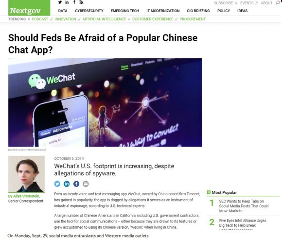 Should Feds be Afraid of a Popular Chinese Chat App?