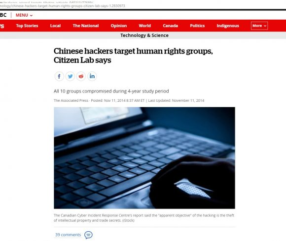 Chinese hackers target human rights groups, Citizen Lab says