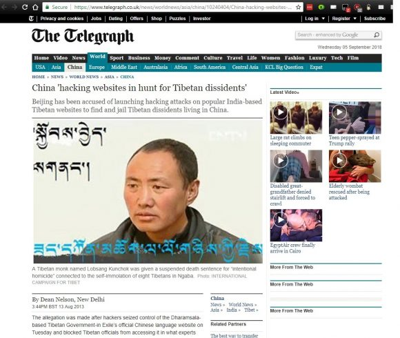 China 'hacking websites in hunt for Tibetan dissidents'