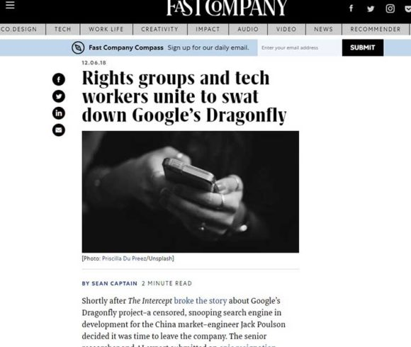 Rights groups and tech workers unite to swat down Google's Dragonfly