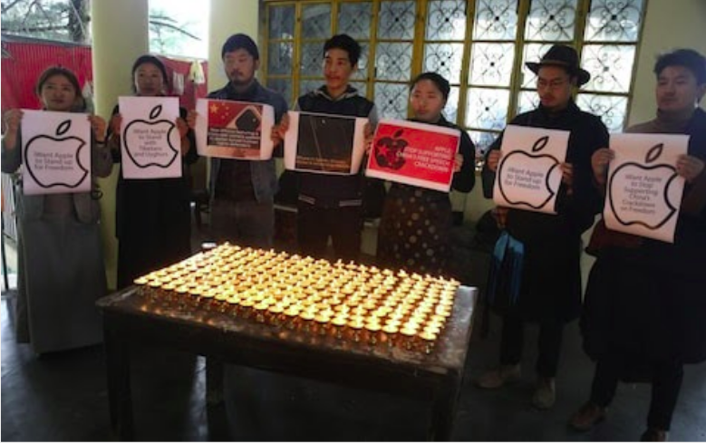Tibetan activists call for Apple to support freedom in China in India, February 2020 CREDIT: Sanjay Baid/Rex/EPA