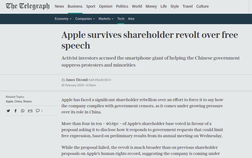 Apple survives shareholder revolt over free speech